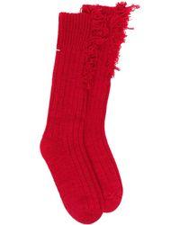 Maison Margiela Frayed Socks - Red
