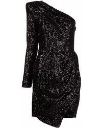 Les Hommes One-shoulder Sequin-embellished Dress - Black
