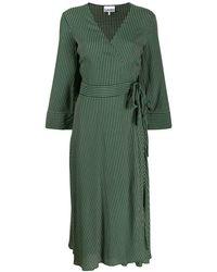 Ganni Креповое Платье С Принтом И Запахом - Зеленый