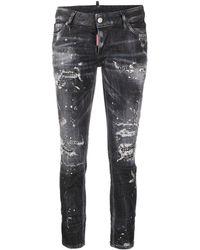 DSquared² Skinny-Jeans im Distressed-Look - Schwarz