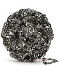 Isla Maxi Cristais Rose Clutch Bag - Black