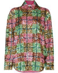 Ashish Sequin-embellished Plaid Shirt - Pink