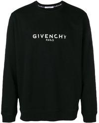 Givenchy Sweat-shirt en coton à logo effet vieilli - Noir