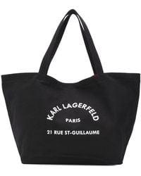 Karl Lagerfeld コットンキャンバストートバッグ - ブラック