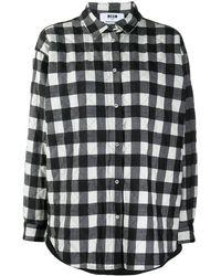 MSGM Стеганая Рубашка В Клетку - Черный