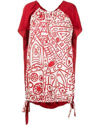 Colville Patterned Draped Top - White