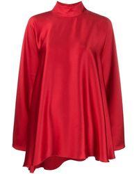 Styland High-neck Draped Dress - Red