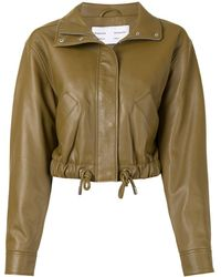 PROENZA SCHOULER WHITE LABEL Giacca crop con coulisse - Verde