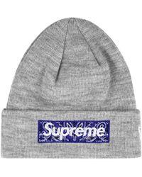 Supreme X New Era Bandana Box Logo Beanie - Gray