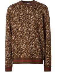 Burberry モノグラム ジャカードセーター - ブラウン