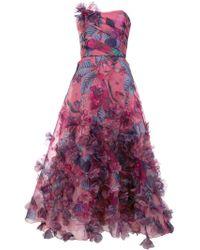 Marchesa notte - Vestido de baile con flores - Lyst