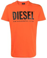 DIESEL T-shirt Met Logoprint - Oranje