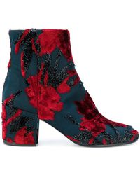 P.A.R.O.S.H. - Floral Block Heel Boots - Lyst