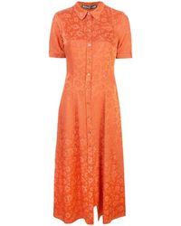 ALEXACHUNG フローラル シフトドレス - オレンジ
