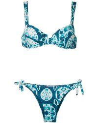 Brigitte Bardot Bikini Met Tie-dye Print - Blauw