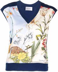 Ferragamo Silk Floral-panel Wool Top - Blue