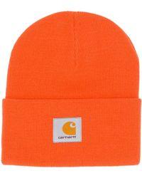 Carhartt WIP Cable Knit Logo Beanie - Orange