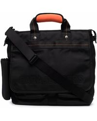 Parajumpers Tonal-stitching Zipped Briefcase - Black
