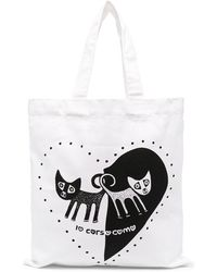 10 Corso Como Cat Heart Print Tote Bag - White