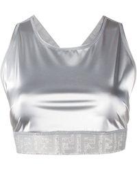 Fendi Metallic Glitter Sports Bra - White