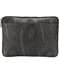 Etro Paisley Print Laptop Case - Gray