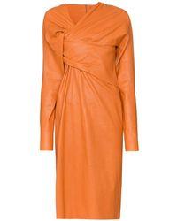 Bottega Veneta Платье Миди С Драпировкой - Оранжевый