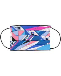 Emilio Pucci Abstract Print Face Mask - Blue