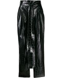MSGM クロコエンボス パンツ - ブラック