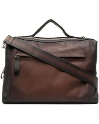 Orciani Engraved Logo Handbag - Brown