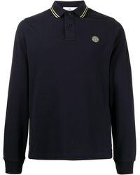 Stone Island - Рубашка Поло С Длинными Рукавами И Нашивкой-логотипом - Lyst