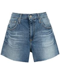 AG Jeans Short en jean Haley à bords francs - Bleu