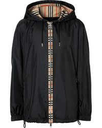 Burberry Icon Stripe Hooded Jacket - Black