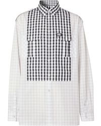 Burberry Gingham Detail Long-sleeved Shirt - Grey