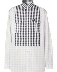 Burberry Рубашка Со Вставкой В Клетку Гингем - Серый