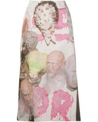 Ashley Williams Graphic Print Midi Skirt - White