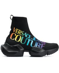 Versace Jeans Couture Rainbow Logo Sock Sneakers - Black