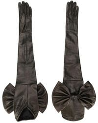 Manokhi Bow-detail Extra-long Gloves - Black