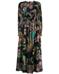 RED Valentino - Long Sleeve Forest Print Dress - Lyst