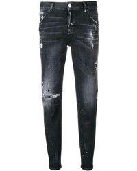 DSquared² Gescheurde Cropped Jeans - Zwart