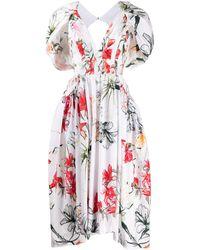 Alexander McQueen - Поплиновое Платье Миди Endangered Flower - Lyst