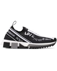 Dolce & Gabbana Black Logo Neoprene Sneakers - Zwart