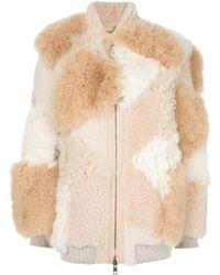 Chloé Patchwork Shearling Jacket - Natural