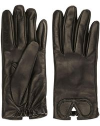 Valentino Garavani Calf Leather Vlogo Gloves - Black