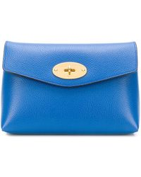 Mulberry Darley Cosmetic Pouch In Porcelain Blue Small Classic Grain
