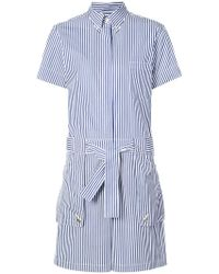 Thom Browne Striped Shirt Playsuit - Blue