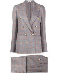Lardini - Check-print Two-piece Suit - Lyst