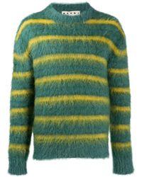 Marni Полосатый Джемпер С Круглым Вырезом - Зеленый