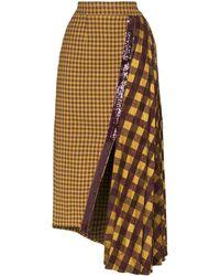 Silvia Tcherassi Dolly Pleated Asymmetric Midi Skirt - Yellow