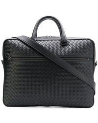 d75d4263a9d7 Bottega Veneta Intrecciato Briefcase in Black for Men - Lyst