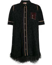 N°21 レース シャツドレス - ブラック